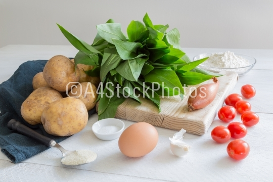 Ingredients for gnocchi with wild garlic