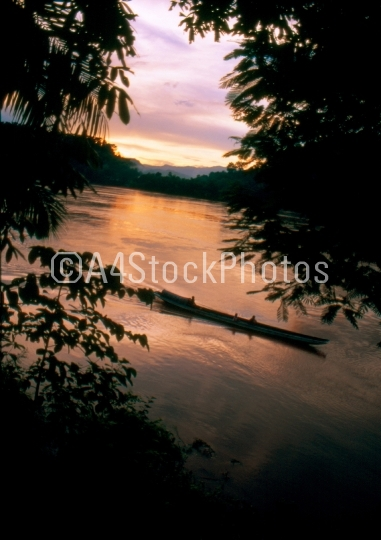Sunset in the Mekong river, Luang Prabang, Laos