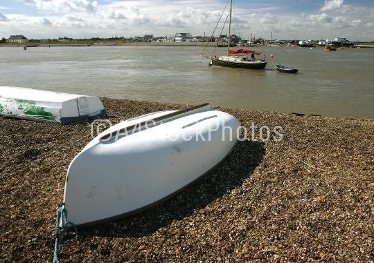 Upturned boat on beach