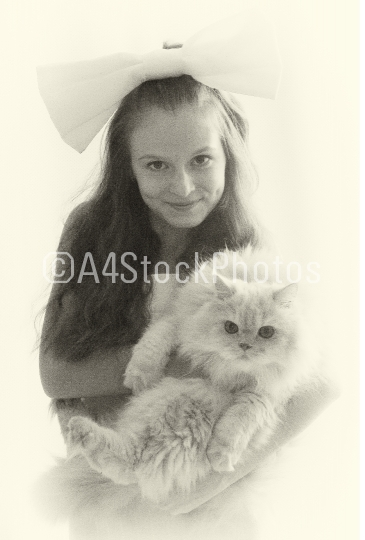 Usual,beautiful portrait of fantastic cute,pretty,nice,perfect,beautiful girl,little girl with long hair and big fluffy Persian cat stand in photo-studio on white background.Black-and-white photo.Cool