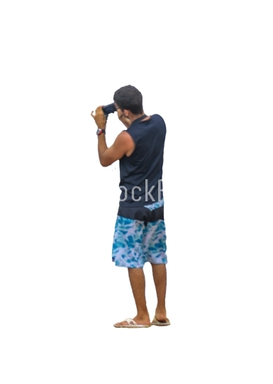 Young Man Taking Photo Back View
